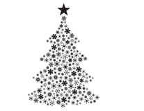 Vector snowflakes in Christmas tree shape. Vector Christmas tree made of various snowflakes Stock Image