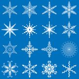 Vector snowflakes set, snowflakes collection, geometric snowflakes, winter theme. royalty free illustration