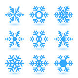 Vector snowflakes. Vector illustration with snowflakes and shadow on white background Royalty Free Stock Image