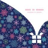 Vector snowflakes on night sky Christmas gift box Stock Photo