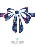 Vector snowflakes on night sky gift bow silhouette Royalty Free Stock Photo