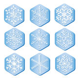 Vector snowflakes on pieces of ice Stock Image