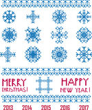 Vector Snowflakes in pixel style  Christmas and New Year. Greetings 2013-2017 set template Royalty Free Stock Images