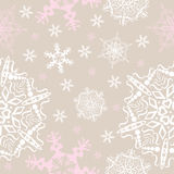 Vector snowflakes seamless background. Vintage style, winter, Christmas, New Year theme, for continuous replicate Stock Photo