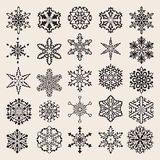 Vector Snowflakes Set. 25 Vector Black Snowflakes Set Royalty Free Stock Images