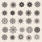 Vector Snowflakes Set. 25 Vector Black  Snowflakes Set Stock Image