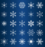 Vector snowflakes. Set of 25 vector snowflakes on blue background Stock Photo