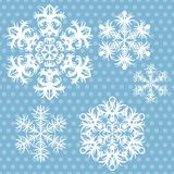 Vector snowflakes set on blue retro background Stock Photo
