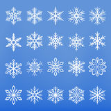 Vector Snowflakes Set. A set of twenty decorative vector snowflakes Royalty Free Stock Image