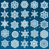 Vector Snowflakes Set. 25 Vector Snowflakes Set, white and blue Royalty Free Stock Photos