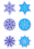 Vector snowflakes stickers set Royalty Free Stock Photography