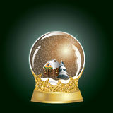 Vector snowglobe with a village house and christmas tree inside. Golden snow globe with golden glitter stand vector illustration on the dark green background Royalty Free Stock Photos