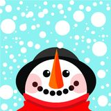 Vector snowman. And snowflake Christmas background vector illustration