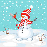 Vector snowman with bird. Stock Photography