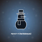 Vector snowman on blue background Royalty Free Stock Images
