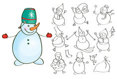 Vector snowman cartoons silhouettes. Royalty Free Stock Photos