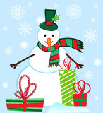 Vector Snowman character with Presents Stock Image