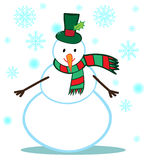 Vector Snowman Character on White Stock Photos