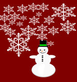 Vector snowman Christmas greeting card. Royalty Free Stock Image