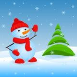 Vector snowman. Vector christmas invitation card with snowman and firtree Stock Photos