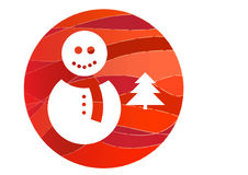 Vector snowman and a christmas tree Royalty Free Stock Images