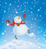 Vector snowman dancing on snowfall background. Royalty Free Stock Photos