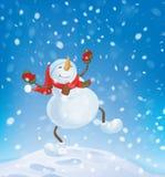 Vector snowman dancing on snowfall background. Royalty Free Stock Photos