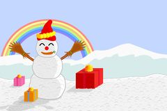 Vector of snowman and gift boxes on the background of mountains and the rainbow. Stock Photo