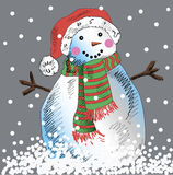 Vector snowman with grey background. Stock Image