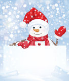 Vector snowman hiding by blank on snowfall background. Royalty Free Stock Image