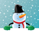 vector snowman holding blank paper for Royalty Free Stock Photography