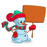 Vector snowman holding wooden blank board Stock Photos