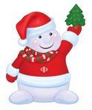 Vector snowman holds Christmas tree. Fun snowman cartoon holds Christmas tree isolated Stock Photos