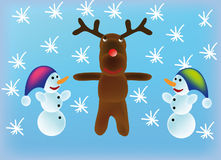 Vector snowman and reindeer Stock Photography