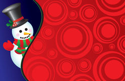 Vector snowman on a retro background Royalty Free Stock Photos