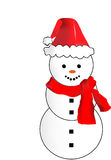 Vector Snowman with Santa Hat and Red Scarf Stock Photo