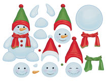 Vector snowman template, make own snowman. Royalty Free Stock Photo