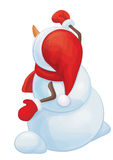 Vector snowman writes greeting, back side, for Christmas design. Stock Images