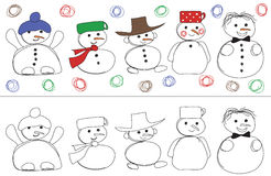 Vector for snowmans Stock Image
