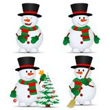 Vector snowmans set Stock Images
