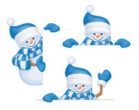 Vector snowmen cartoons. Royalty Free Stock Photography