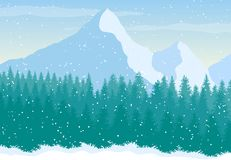 Vector snowy mountains landscape with pine forest royalty free illustration