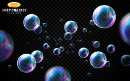 Vector soap bubbles set isolated on black transparent background. Special effect for design. Water spheres with air. Soapy balloons, lather, suds, soap suds stock illustration