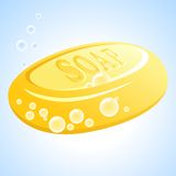 Vector soap. Vector yellow soap with bubbles Royalty Free Stock Images