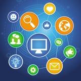 Vector socailmedia concept met app pictogrammen stock illustratie