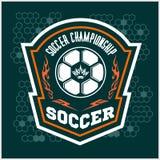 Vector Soccer Badge - emblem on dark background Stock Photography
