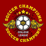 Vector Soccer Badge - emblem on dark background Royalty Free Stock Images