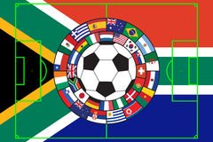 Vector of soccer ball with flags. Soccer ball with flags of all participants of WC 2010 in South Africa stock illustration