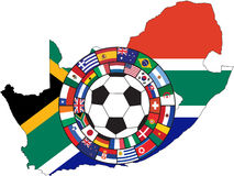 Vector of soccer ball with flags. Of all qualifiers of WC 2010 in South Africa vector illustration