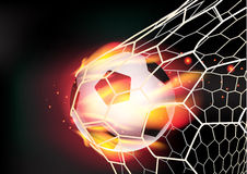 Vector soccer ball in goal net on fire flames Royalty Free Stock Photo